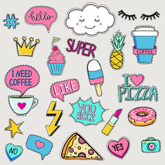 Set of cute trendy patches