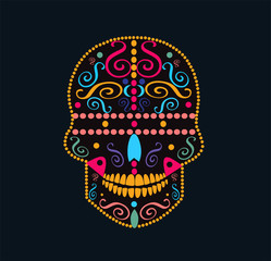 African skull icon with ornament details, colorful vector