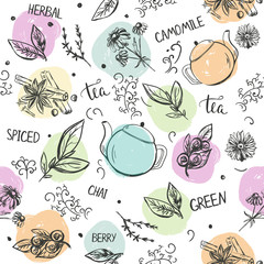 Seamless pattern with hand drawn tea types