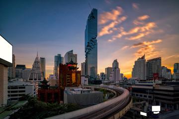Wall Mural - Aerial view of Bangkok Panorama skyline, Skyscraper in Bangkok
