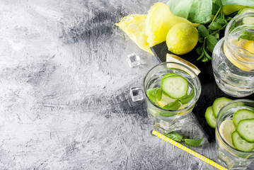 Two Glasses with detox fresh organic cucumber, lemon and mint water