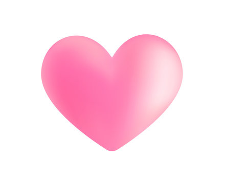 Realistic pink vector valentine heart in 3d style with glare on white background. Vector illustration