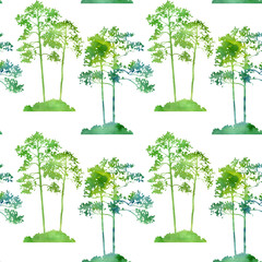 watercolor seamless pattern with trees