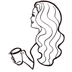 Pretty girl with long wavy hair and cup of coffee in her hand. Young smiling woman with cup of drink. Attractive character with beverage for design, advertising, banners, prints, posters, cafe, shop