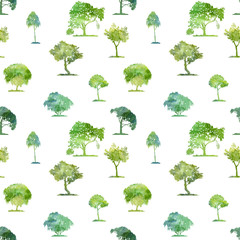 watercolor seamless pattern with deciduous trees