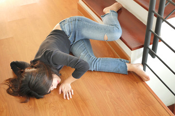 woman falling down, dangerous situation, bad day, injury, insurance concept