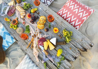 Wall Murals Picnic Top view beach picnic table