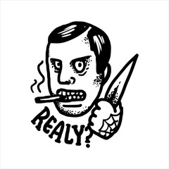 Etched vector illustration. Engraved sticker. Dark humor jokes. Contemporary street art work. Hand drawn sketch of a really angry gangster threatening with a knife.