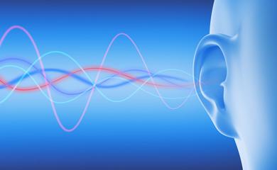 Ohr mit Schallwellen vor Blau