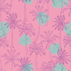 Seamless tropical palms pattern. Summer endless hand drawn vector background of palm trees can be used for wallpaper, wrapping paper, textile printing.Vector illlustration.