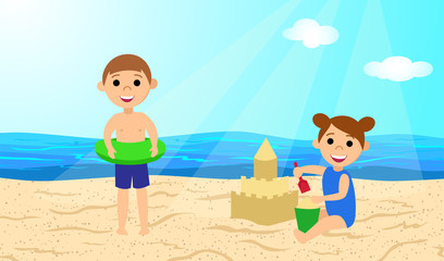 Children on the beach. A girl builds a sand castle. Boy with inflatable circle. Vector illustration.