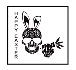 Easter skull icon background with sunglasses, carrot and rabbit ears, black and white