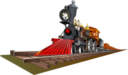 Vector illustration of old steam train locomotive isolated on white background