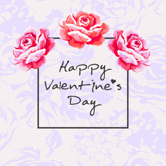 Valentines day vector background with rose flower.