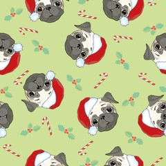Seamless pattern with image of a Funny cartoon pugs puppies on a blue background. Vector illustration.