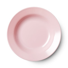 Simple circular porcelain plate with clipping path