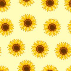 Sunflowers seamless pattern. Vector illustration.