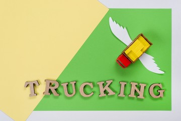 Abstract picture of a truck with wings and a word of trucking.