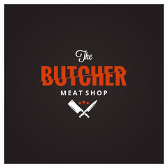 Butchery logo. Butcher meat shop with knife and cleaver