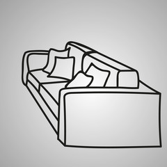 sketch of a sofa with pillows
