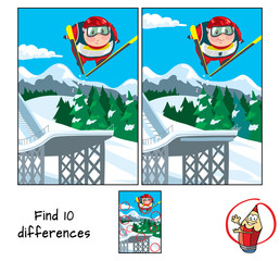 Ski jumping. Find 10 differences. Educational game for children. Cartoon vector illustration