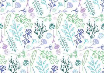 Hand drawn doodle floral pattern