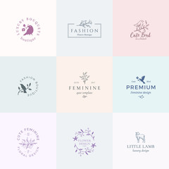 Abstract Feminine Vector Signs, Symbols or Logo Templates Set. Retro Floral Illustration with Classy Typography, Birds and Lamb. Premium Quality Emblems for Beauty Salon, SPA, Wedding Boutiques, etc.