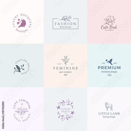 Abstract Feminine Vector Signs, Symbols Or Logo Templates Set. Retro Floral  Illustration With Classy