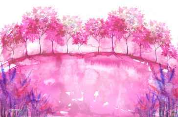 Watercolor background. Blossoming meadow, field, countryside landscape. pink Tree. Summer, Spring landscape. Silhouettes of forest, trees, wild grass, flower, plant. With a place for writing.