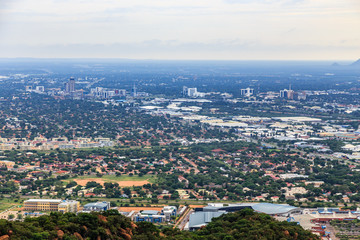 Aerial view of Gaborone city downtown spread out over the savannah, Gaborone, Botswana, Africa, 2017