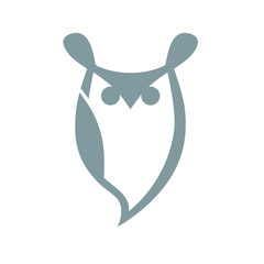 Abstract owl symbol, icon on white background. Design element