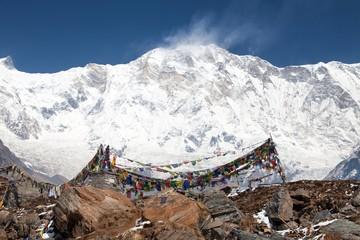 Mount Annapurna with buddhist prayer flags