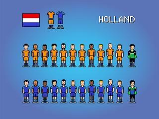 Holland national football team, pixel art game illustration