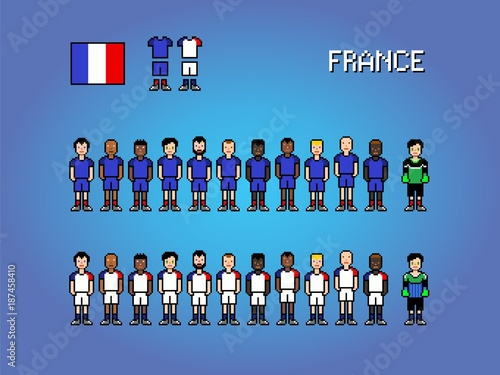 France National Football Team Pixel Art Game Illustration