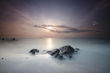 Sunset at Ujung gelam beach, karimun jawa island, central java, indonesia