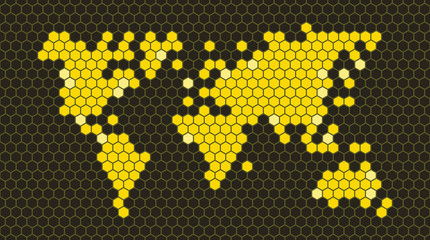 Honeycomb world map