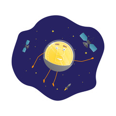 Bitcoin Character Astronaut in Space. Cartoon Golden Coin Icon. Modern Concept of Digital Crypto Mining. Vector Illustration.