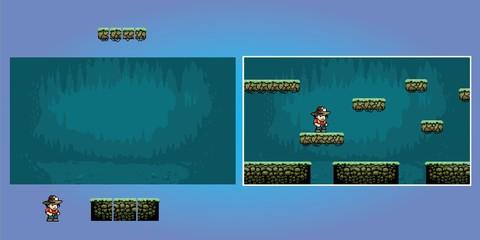 platform game pixel art graphics kit, video game vector illustration