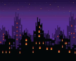 Haunted city at night, spooky pixel art town landscape, vector background illustration