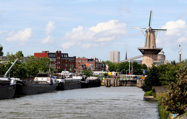 Old windmill situated in the harbor of Schiedam
