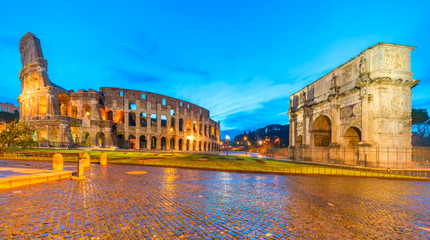 Rome, Coliseum and Constantine arch. Italy.