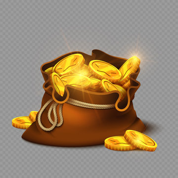 Cartoon big old bag with gold coins isolated on transparent background