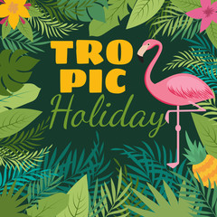 Tropical holiday vector background with exotic flowers and pink flamingo