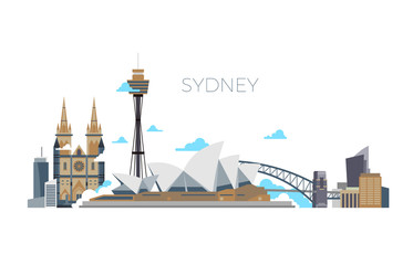 Sydney city vector panorama. Australia travel landmark in flat style