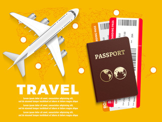 Air travel banner with plane world map and passport - vacation concept design