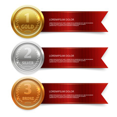 Champion gold, silver and bronze medails with red ribbon banners