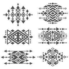 Grunge mexican aztec tribal traditional vector logo design isolated on white background