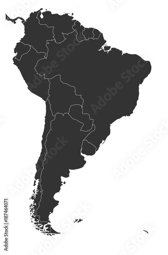 Blank political map of South America. Simple flat vector map in grey ...