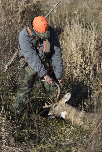 Wall mural Deer Hunter in Iowa with a trophy Whitetail Buck