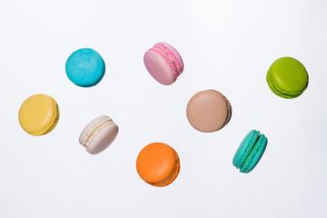 Canvas Prints Macarons Fly falling sweet macaroon. Minimal concepts falling macaroons